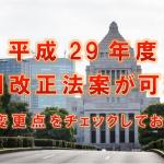 平成29年度税制改正法案が可決!主な変更点をチェックしておこう!