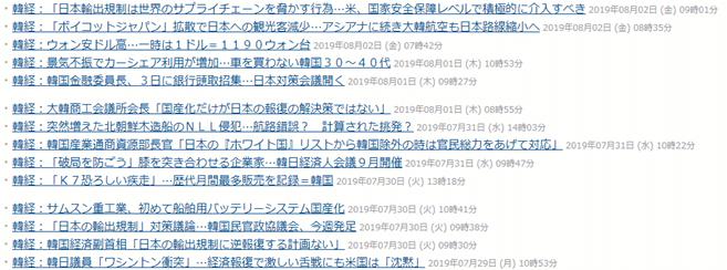 韓国経済新聞の見出し